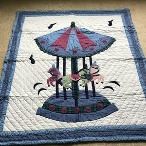 Vintage Handmade Donna Sharp Signed Carousel Quilt
